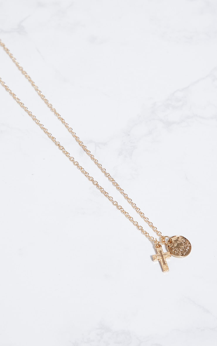 Gold Renaissance Mini Coin Cross Necklace 3
