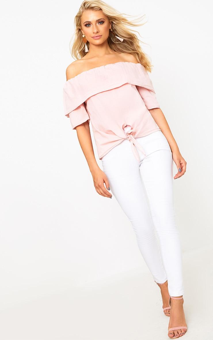 Pink Bardot Shortsleeve Tie Front Shirt 4