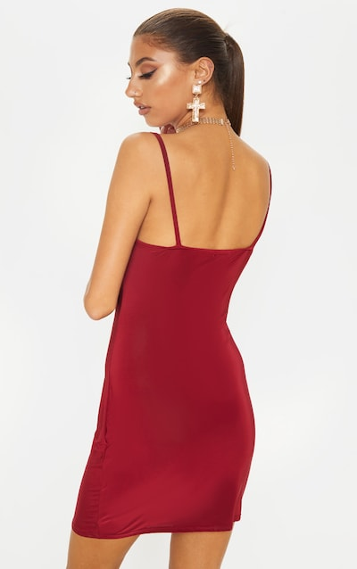 Tall Burgundy Slinky Cowl Neck Dress