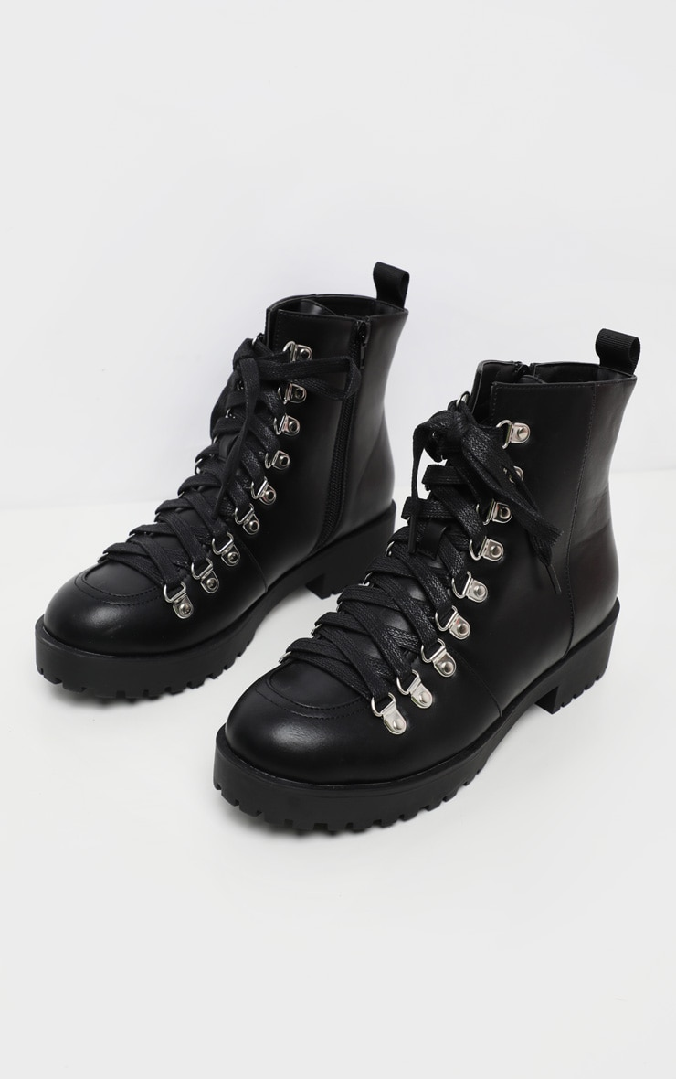 Black Cleated Flat Hiker Lace Up Ankle Boot 1