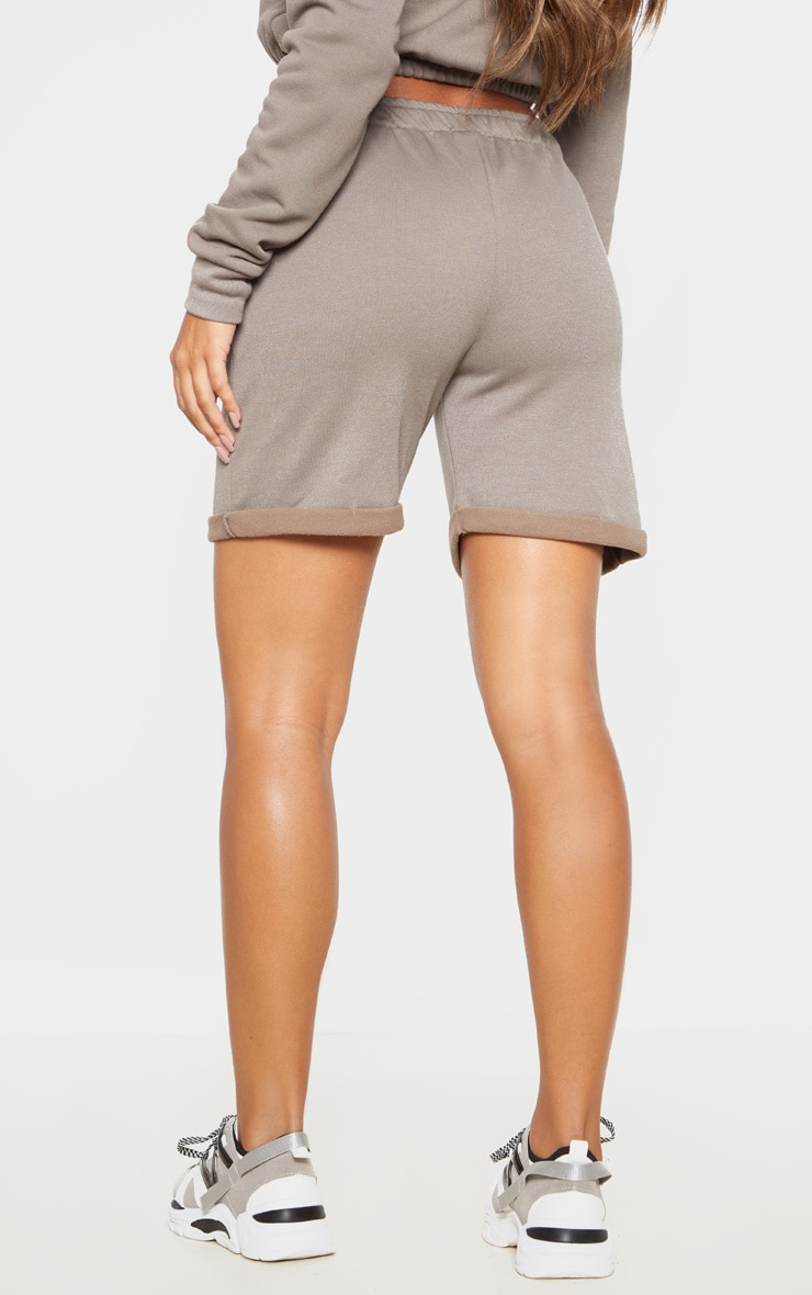 Grey Turn Up Longline Sweat Short 4