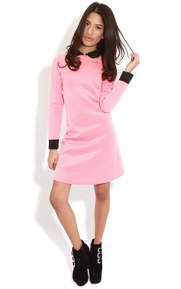 Evelyn Coral Long Sleeved Collar Dress 3