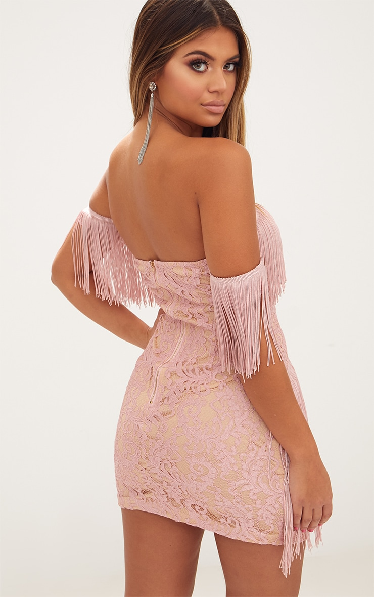Dusty Pink Bardot Tassel Lace Bodycon Dress 2