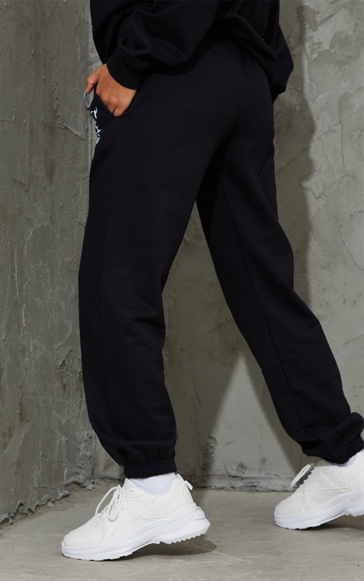 PRETTYLITTLETHING Black Printed Joggers 3