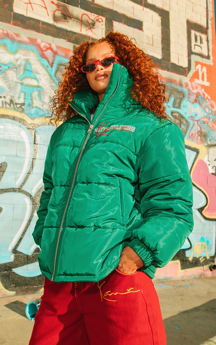 KARL KANI Green Embroidered Puffa Jacket 2