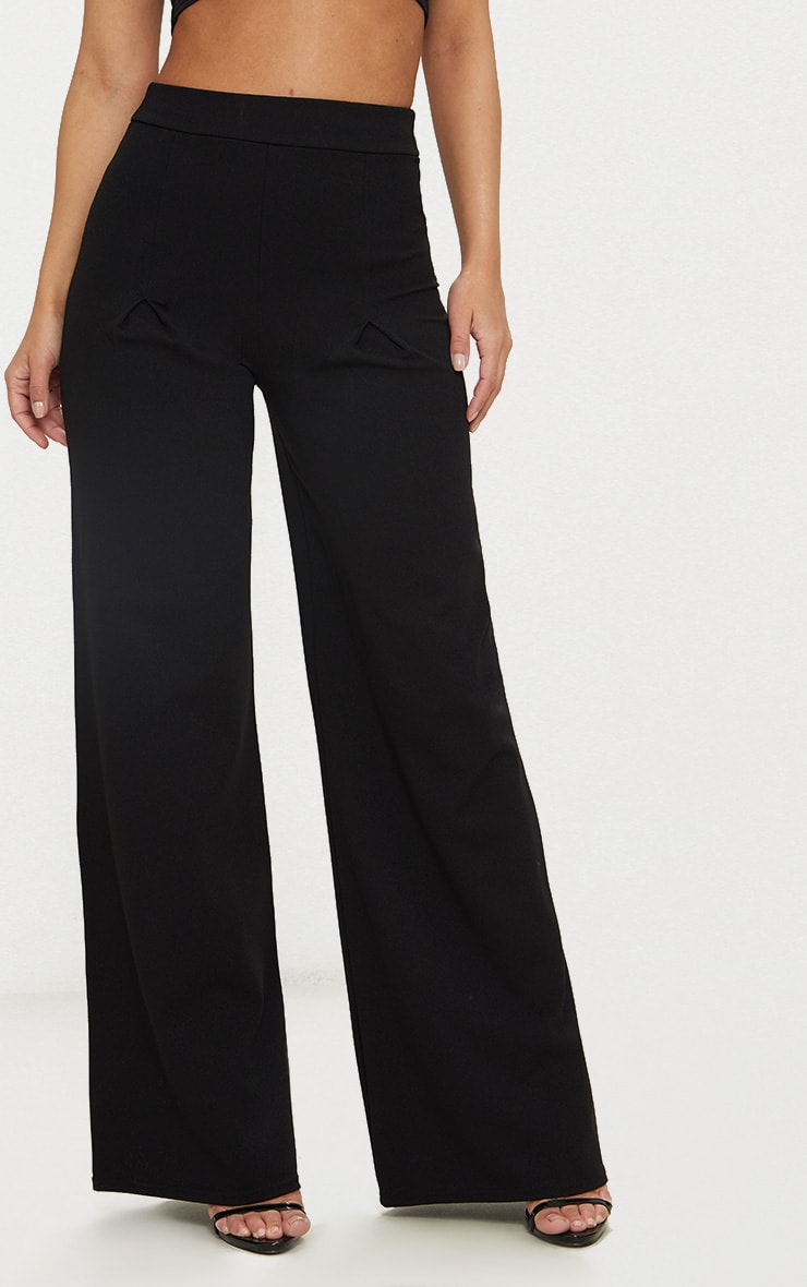 Petite Black Pleat Front Wide Leg Trousers 2