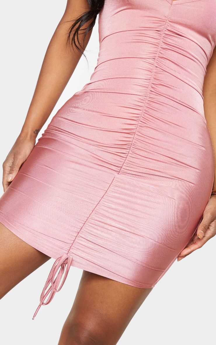 Shape Dusty Pink Slinky Ruched Front Strappy Bodycon Dress 3