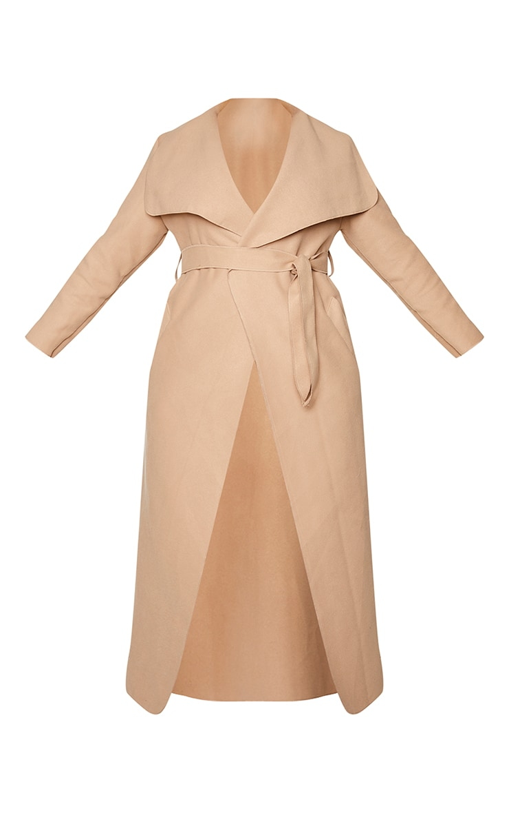 Plus Camel Maxi Oversized Waterfall Belted Coat 5