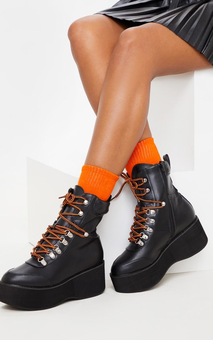 Black Hiker Flatform Lace Up Boot 1