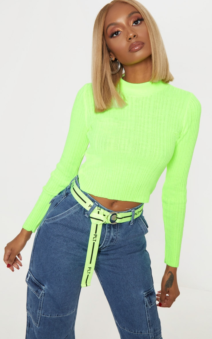 Neon Lime High Neck Knitted Rib Top 1