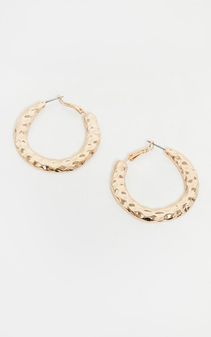 Gold Hammered Textured Hoop Earrings