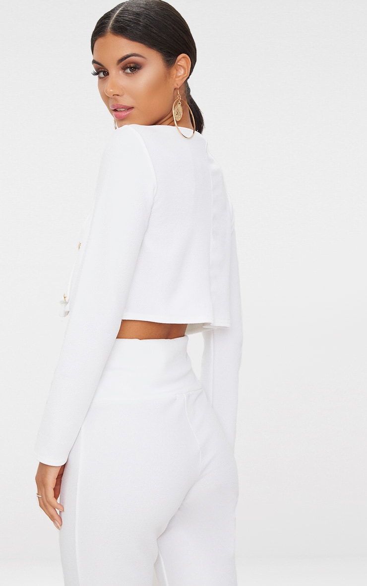 White Military Cropped Jacket  2