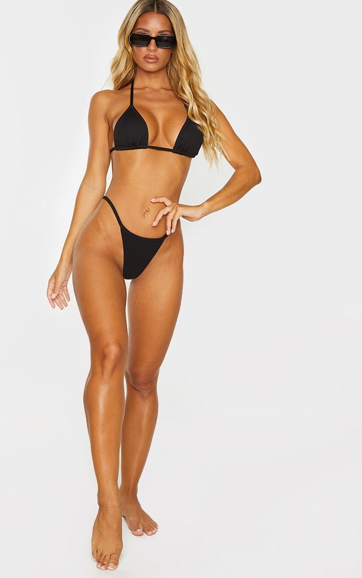 Black Ribbed Padded Triangle Bikini Top 3