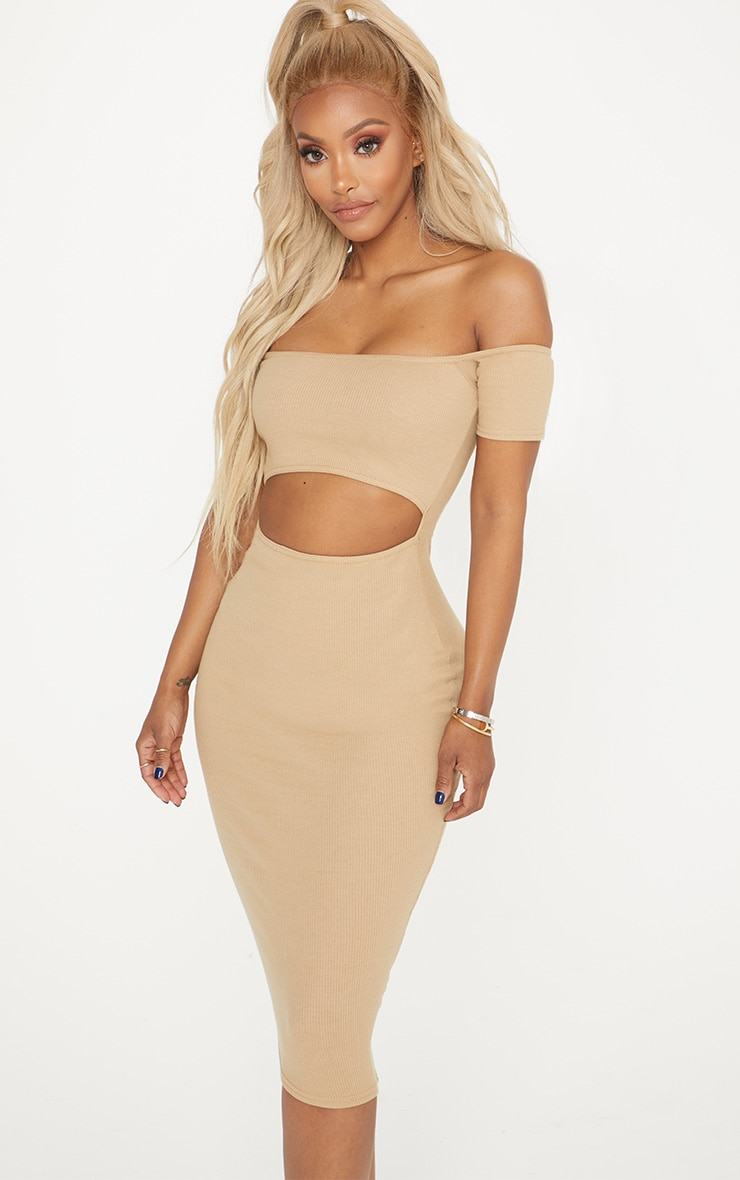 Shape Camel Ribbed Cut Out Front Midi Dress 4