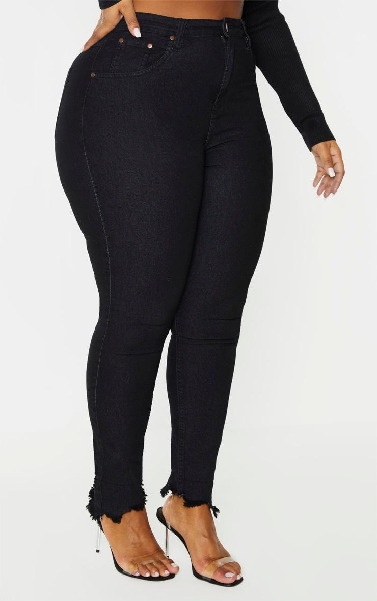 Plus Black Denim Fray Hem Skinny Jeans 2