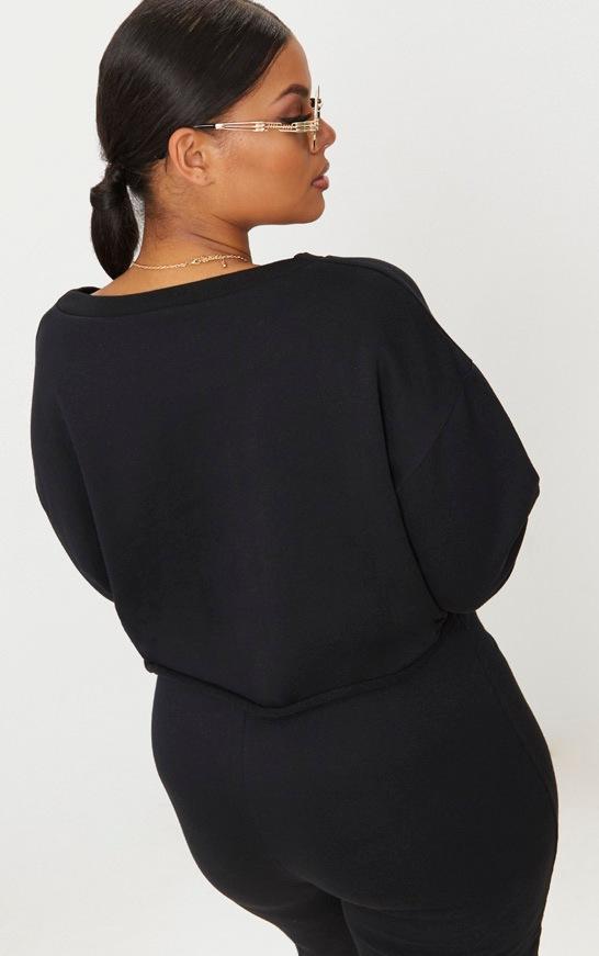 Plus Black Extreme Crop Sweater 2