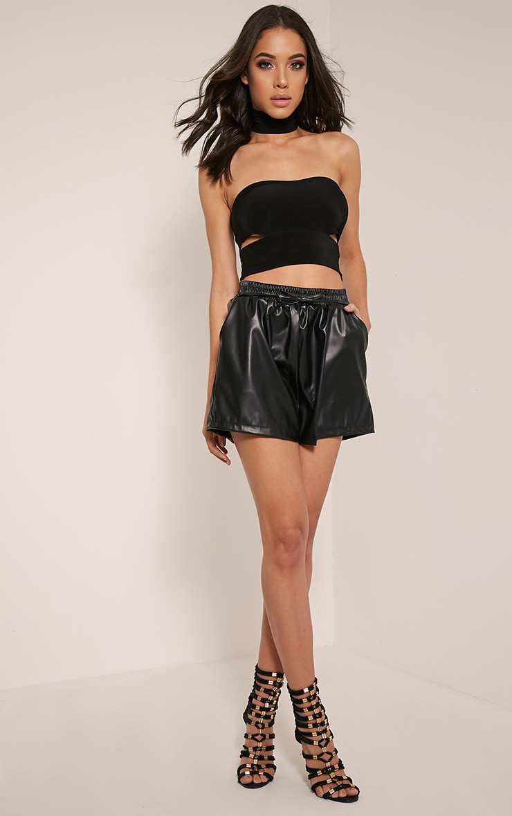 Mindy Black Faux Leather Tie Waist Shorts 6