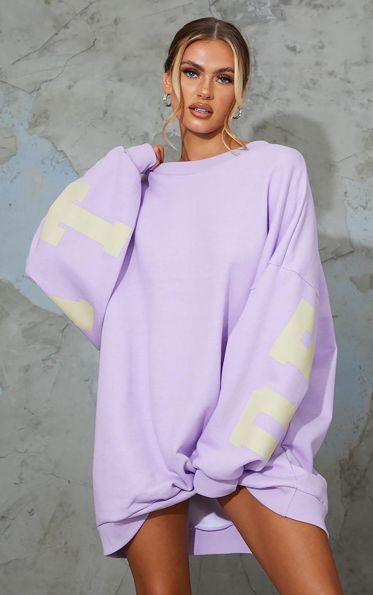 Lilac Detroit Michigan Slogan Sweatshirt Dress 2