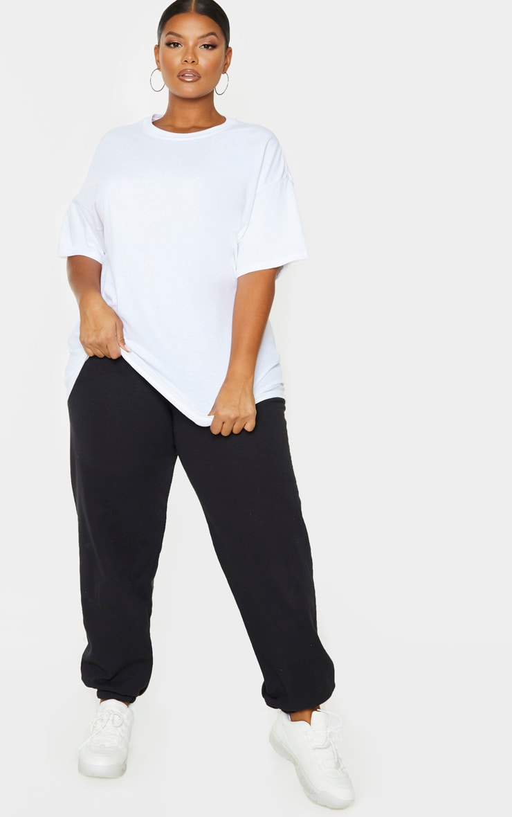 PRETTYLITTLETHING Plus White Oversized Slogan T-Shirt 5