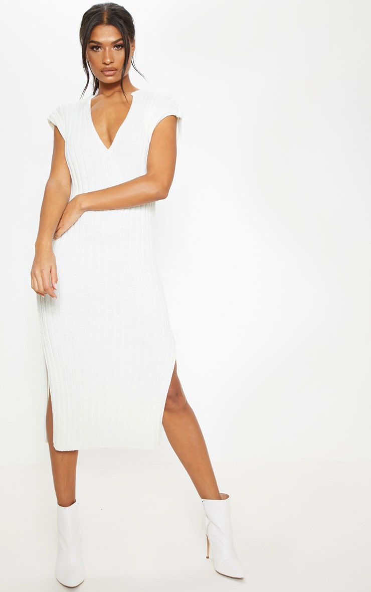 Cream Ribbed V Neck Midi Knitted Dress 1