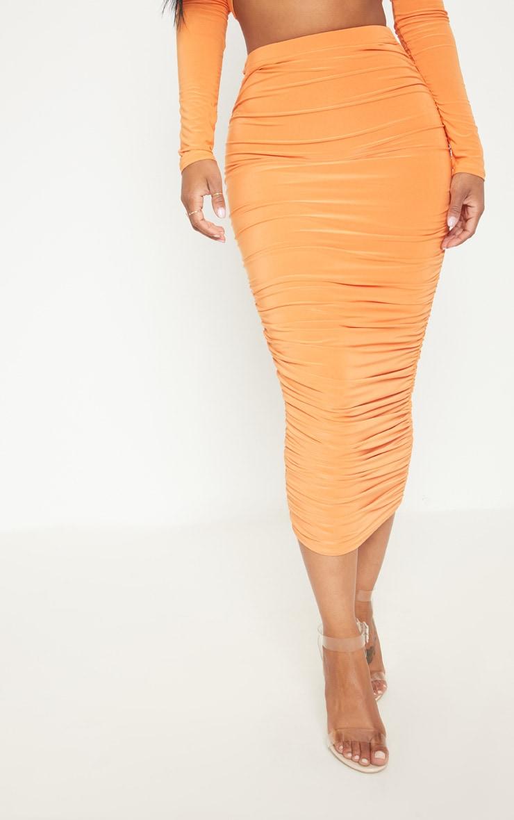 Shape Tangerine Slinky Ruched Midi Skirt 2