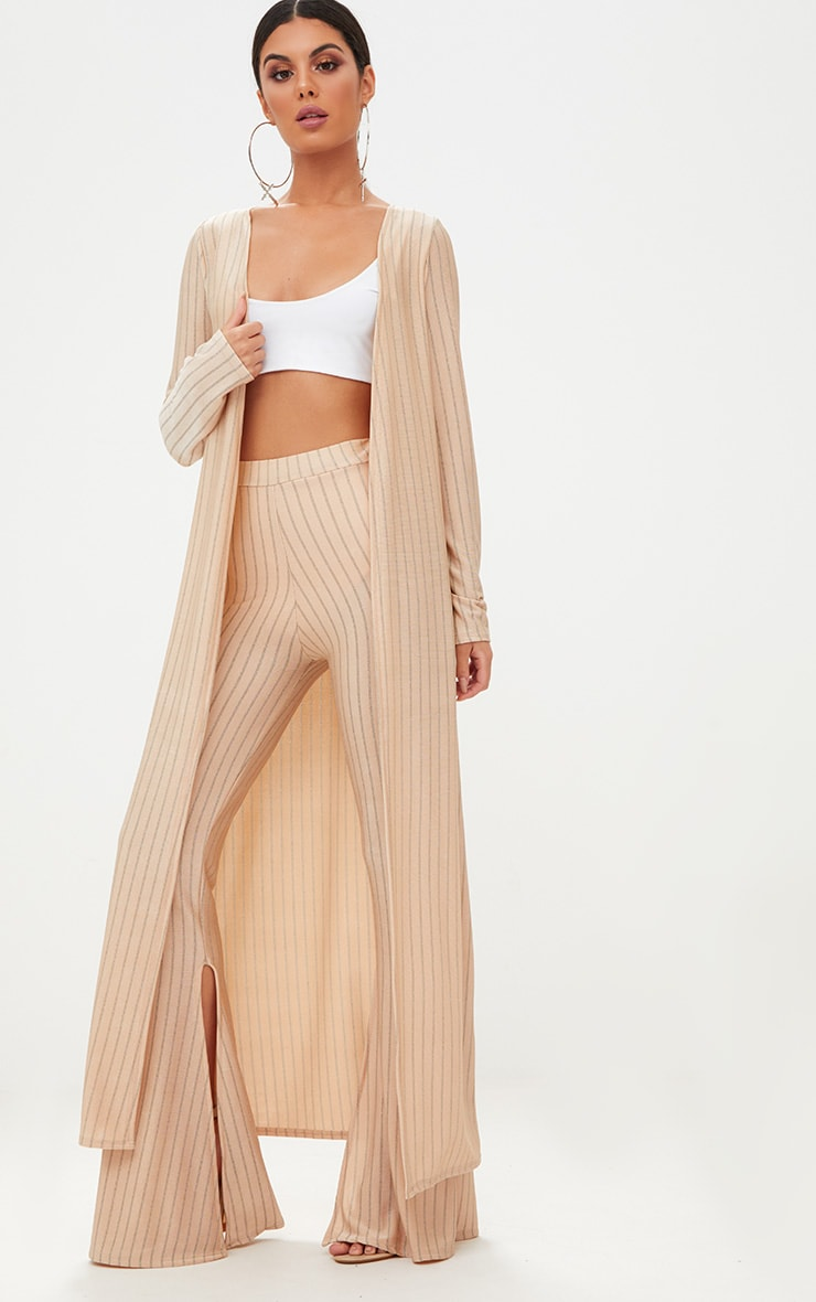 Nude Glitter Stripe Duster Coat  1
