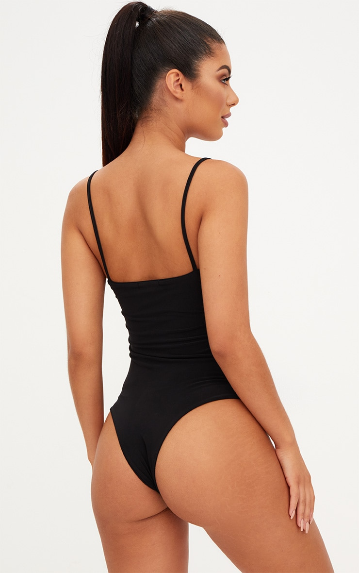Black Slinky Ruched Side Thong Bodysuit  2