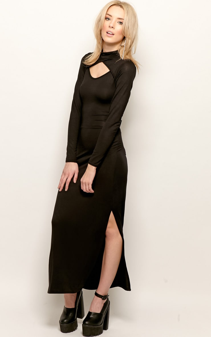 Saskia Black Long Sleeve Cut Out Maxi Dress 3