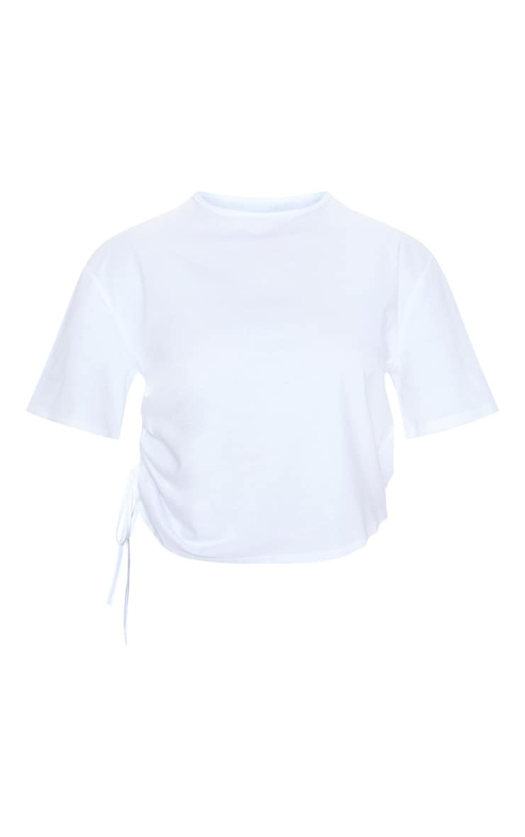 White Ruched Side T Shirt 3