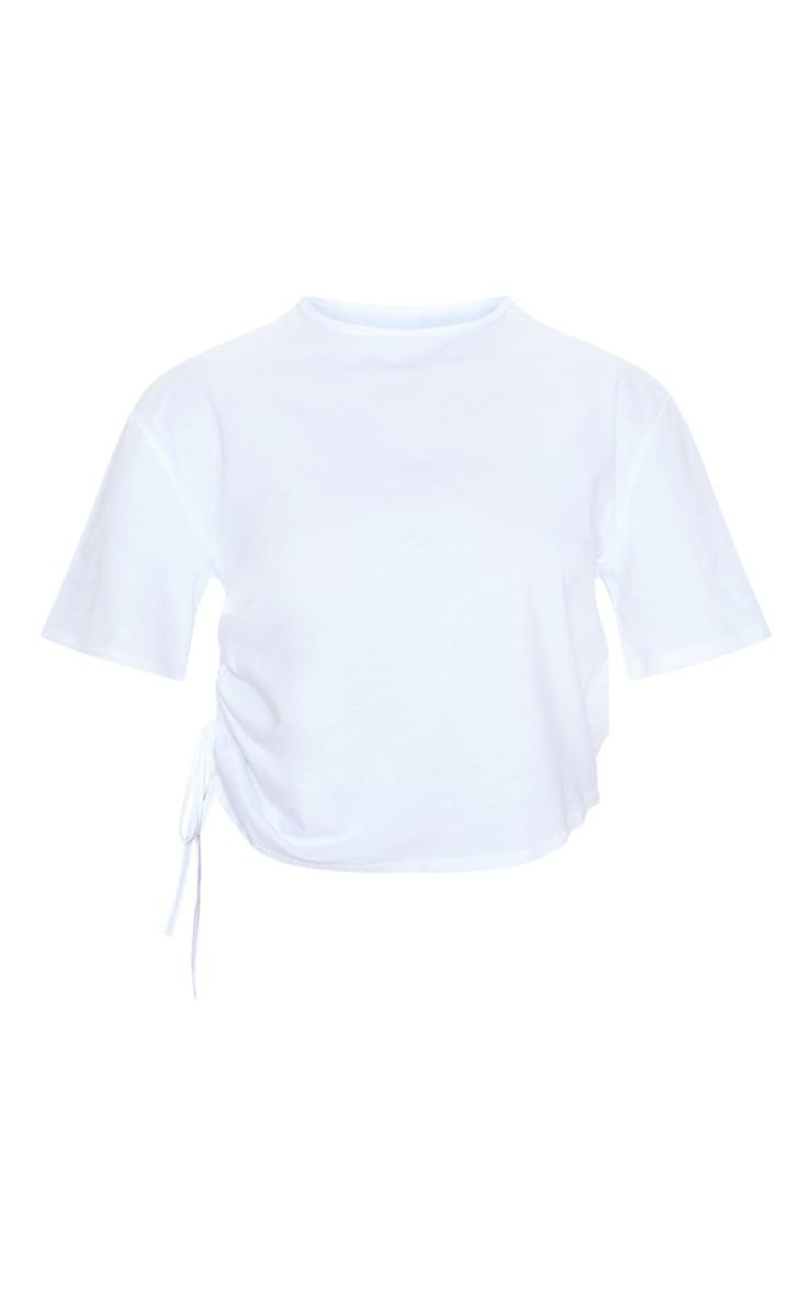 Tee-shirt blanc froncé sur le côté 3