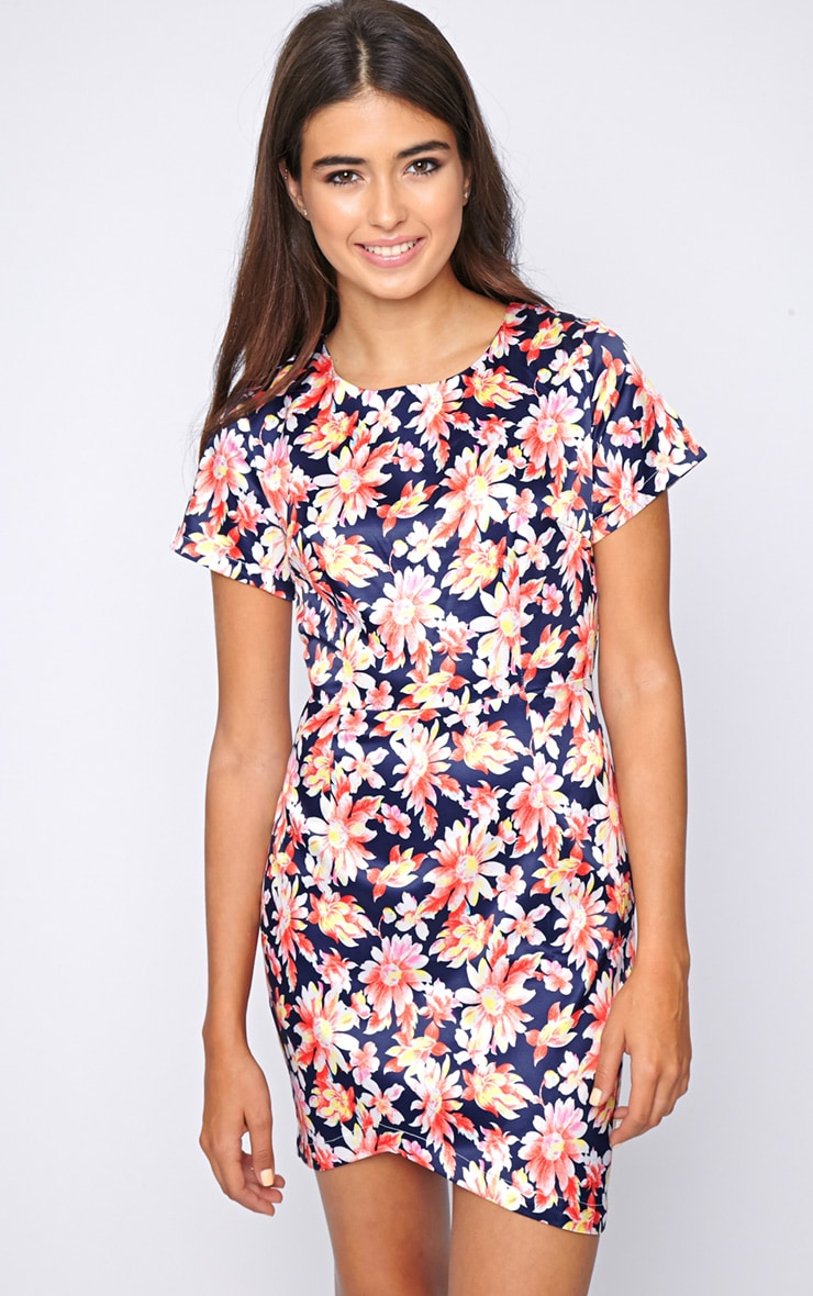 Kierra Floral Satin Shift Dress 1