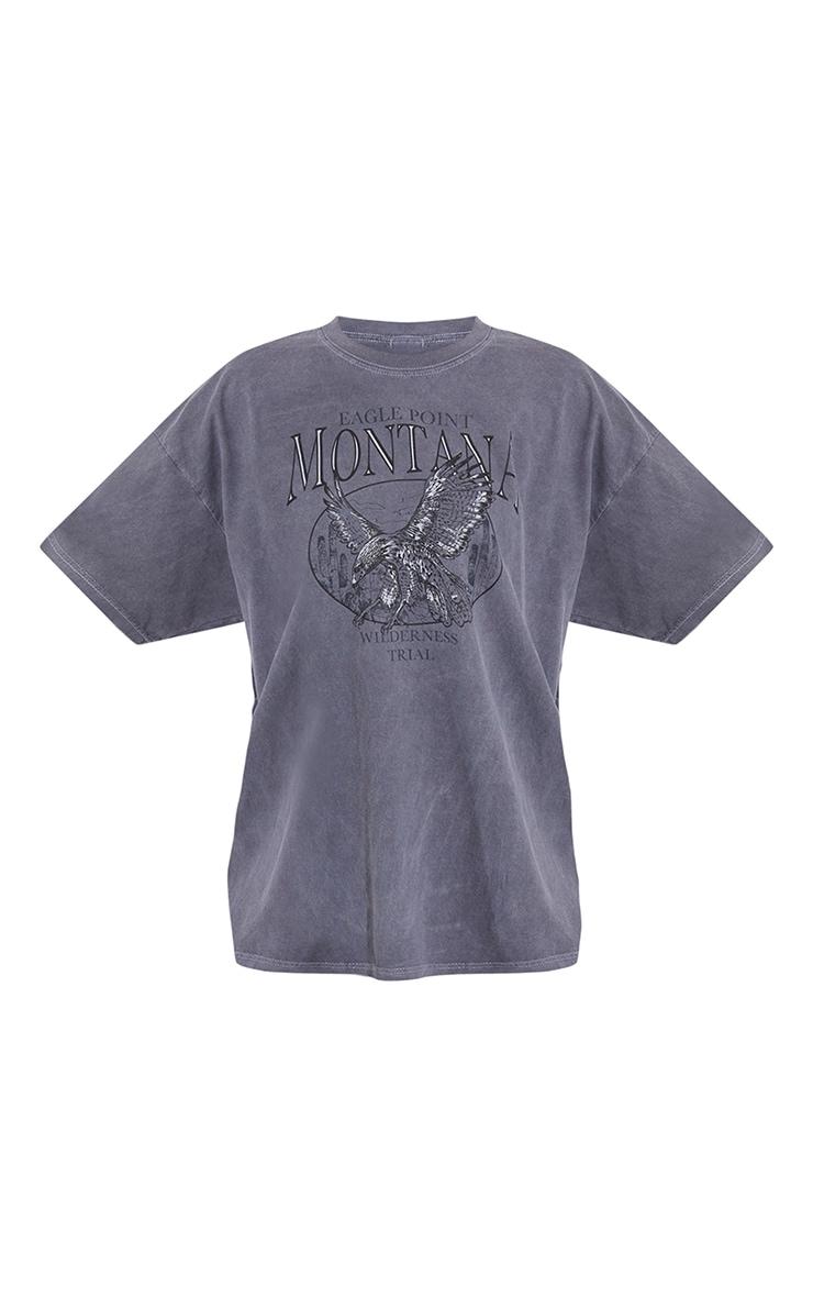 Charcoal Montana Logo Oversized Washed T Shirt 5