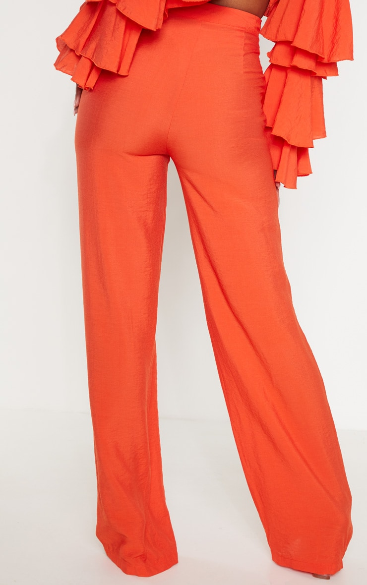 Bright Orange Woven High Waisted Wide Leg Pants 4