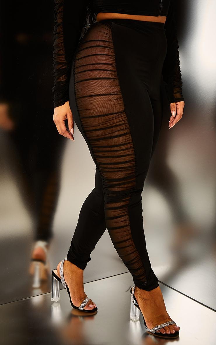 Plus Black Mesh Side Panel Leggings 2