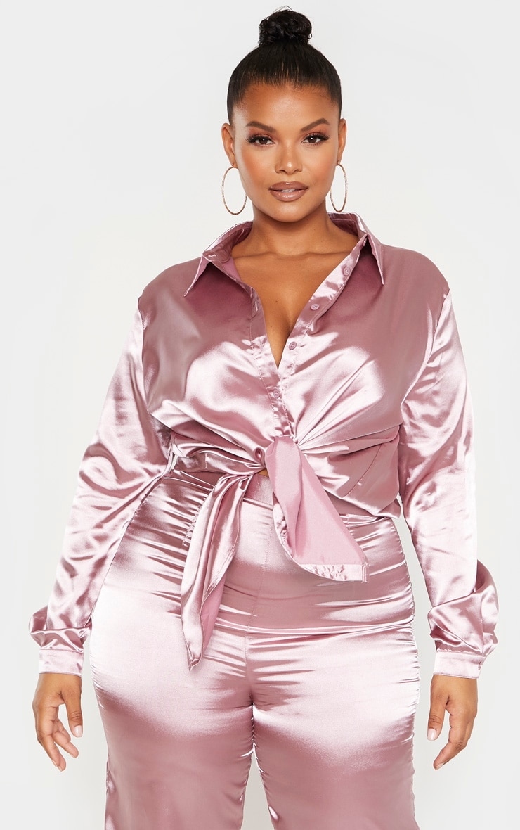 Plus Dusty Lilac Satin Oversized Shirt  1