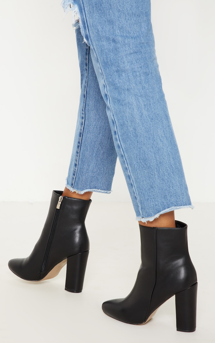 Black Faux Leather Ankle Boot 2
