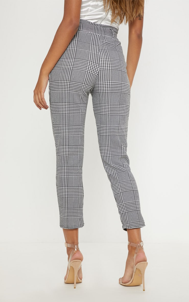 Monochrome Check D Ring Belted Cigarette Pants  4