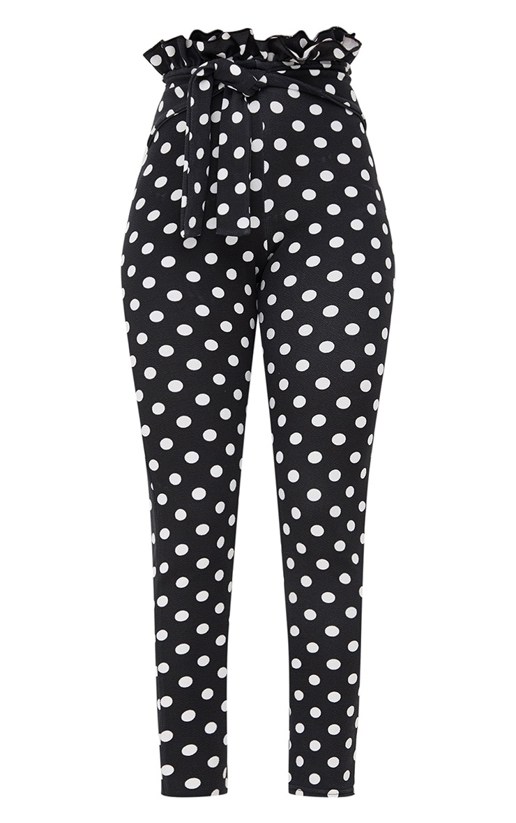 Black Polka Dot Paperbag Waist Skinny Trousers 3