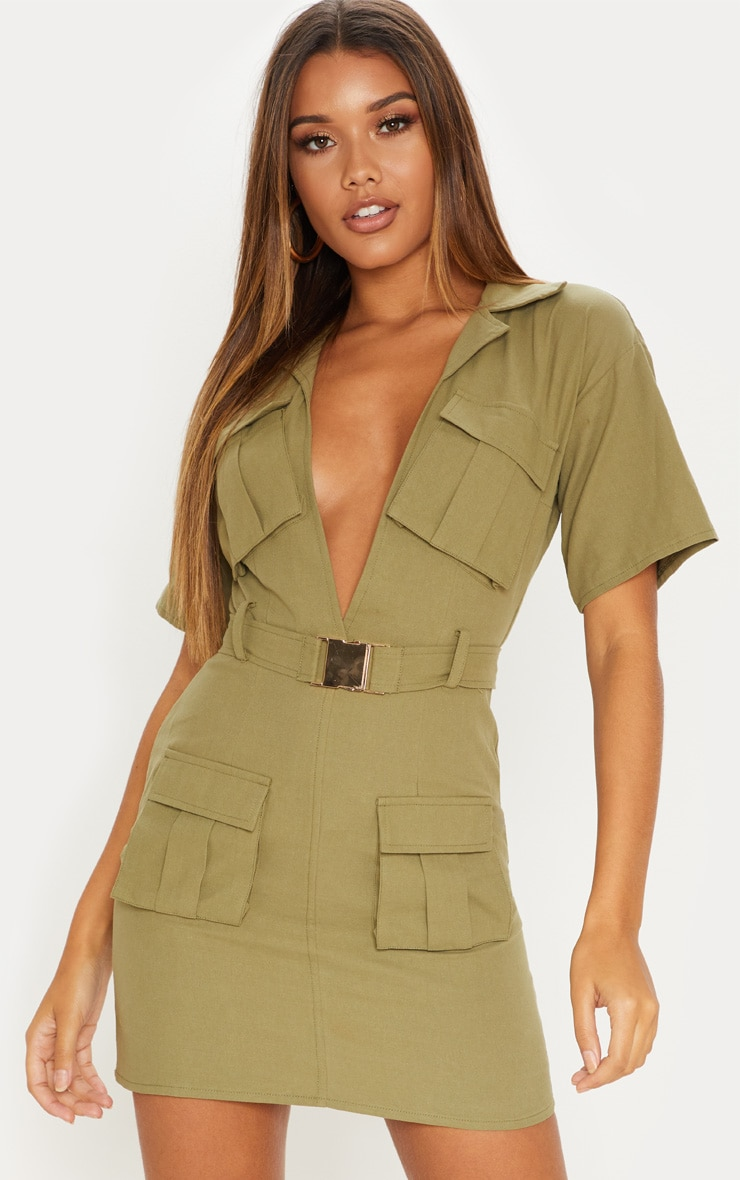 Khaki Cargo Utility Gold Buckle Pocket Detail Bodycon Dress 1
