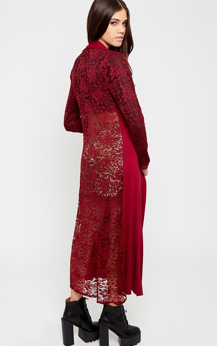 Roxie Wine Long Length Kimono  4