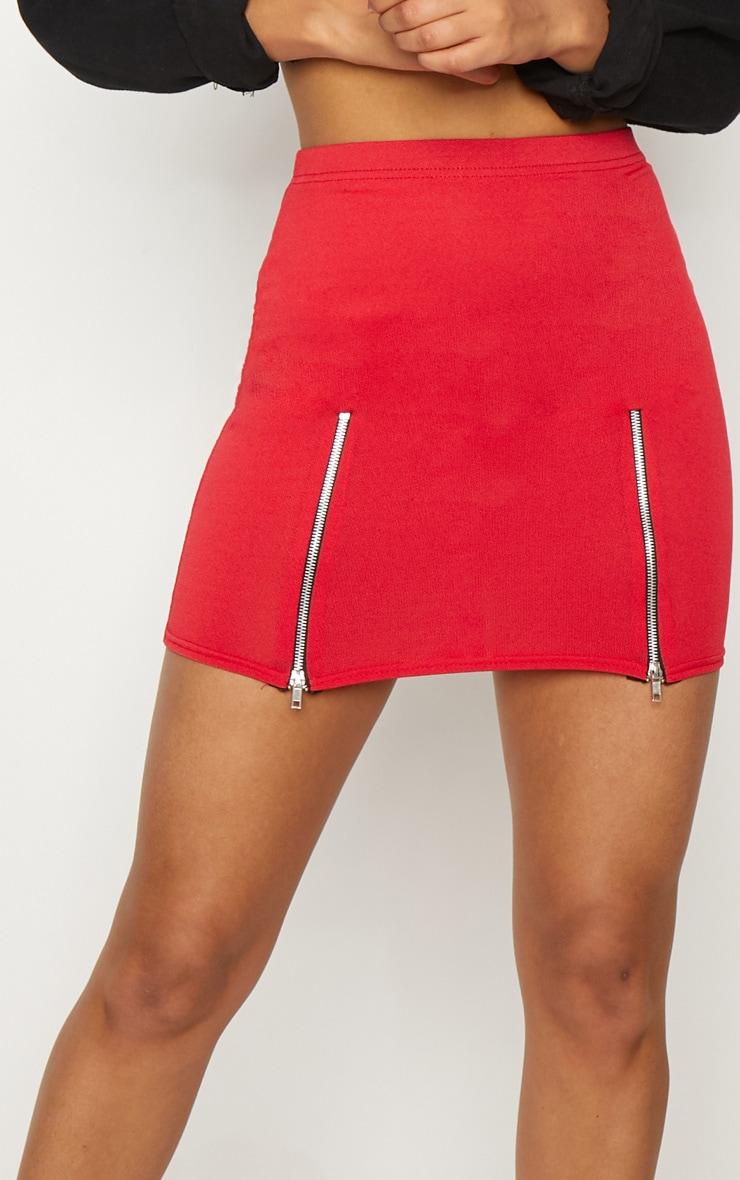 grande vente c0aac 31ba1 Mini-jupe rouge en crêpe avec double zips