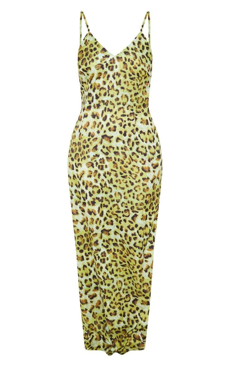 Lime Leopard Chiffon Maxi Beach Dress 3