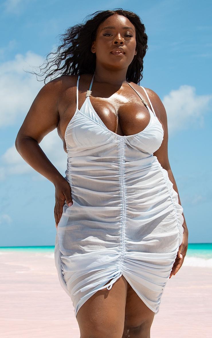 Plus Baby Blue Ruched Chiffon Beach Dress 1