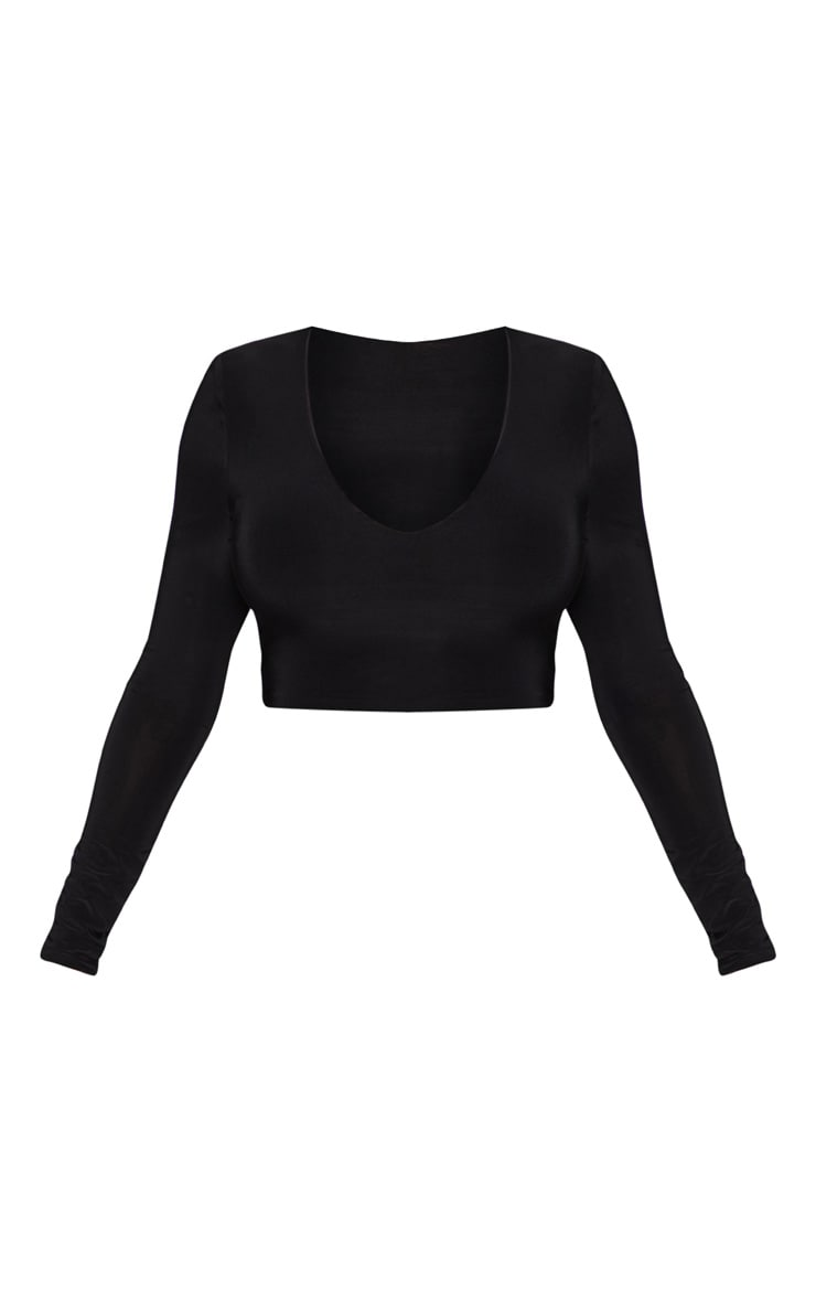 Black Second Skin Long Sleeve V Neck Crop Top  3