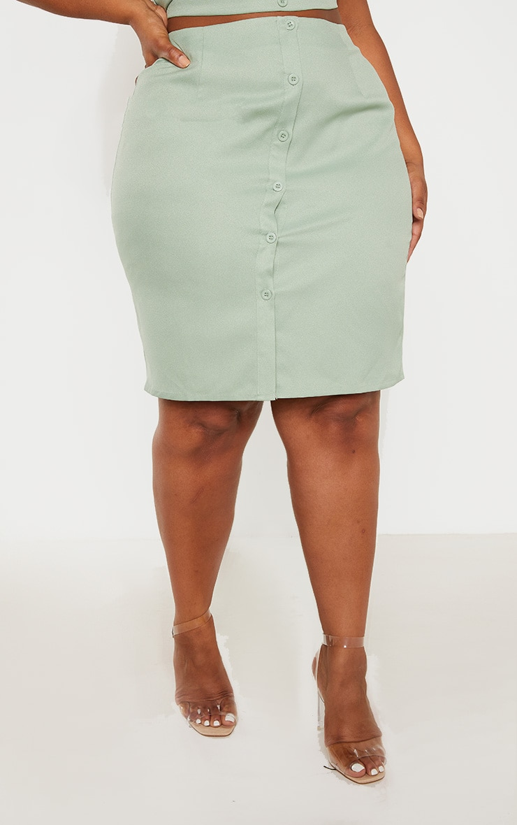 Plus Sage Green Button Midi Skirt  2