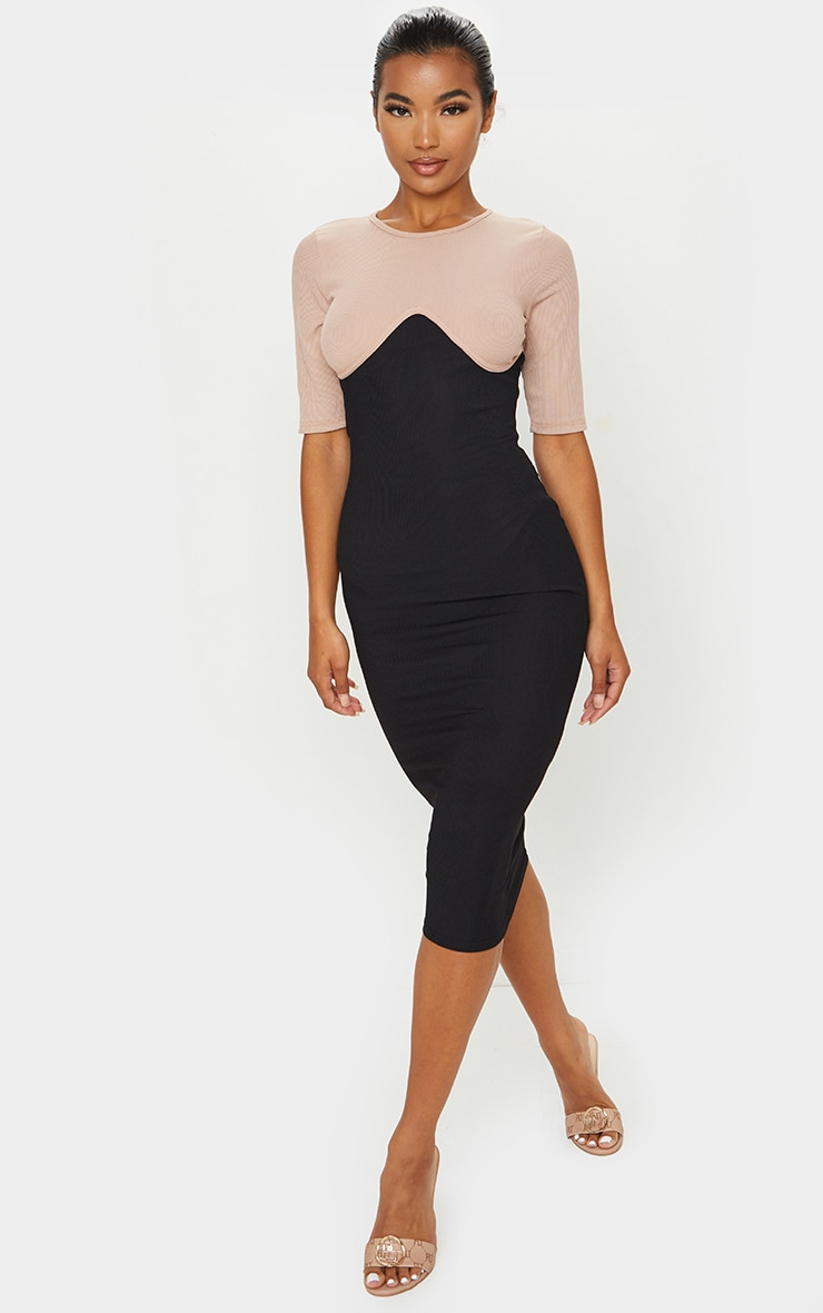 Black Rib Contrast Bust Detail Midi Dress 1