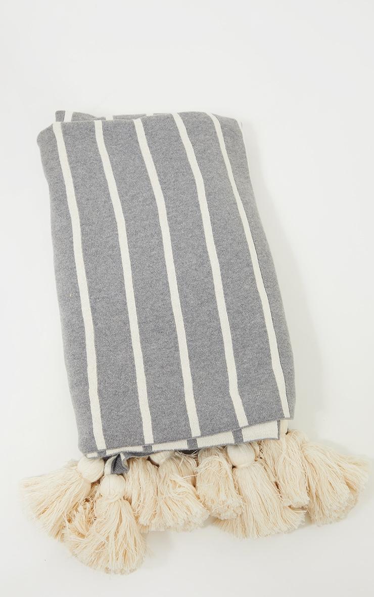 Grey Soft Knitted Reverse Stripe Tassel Throw 4