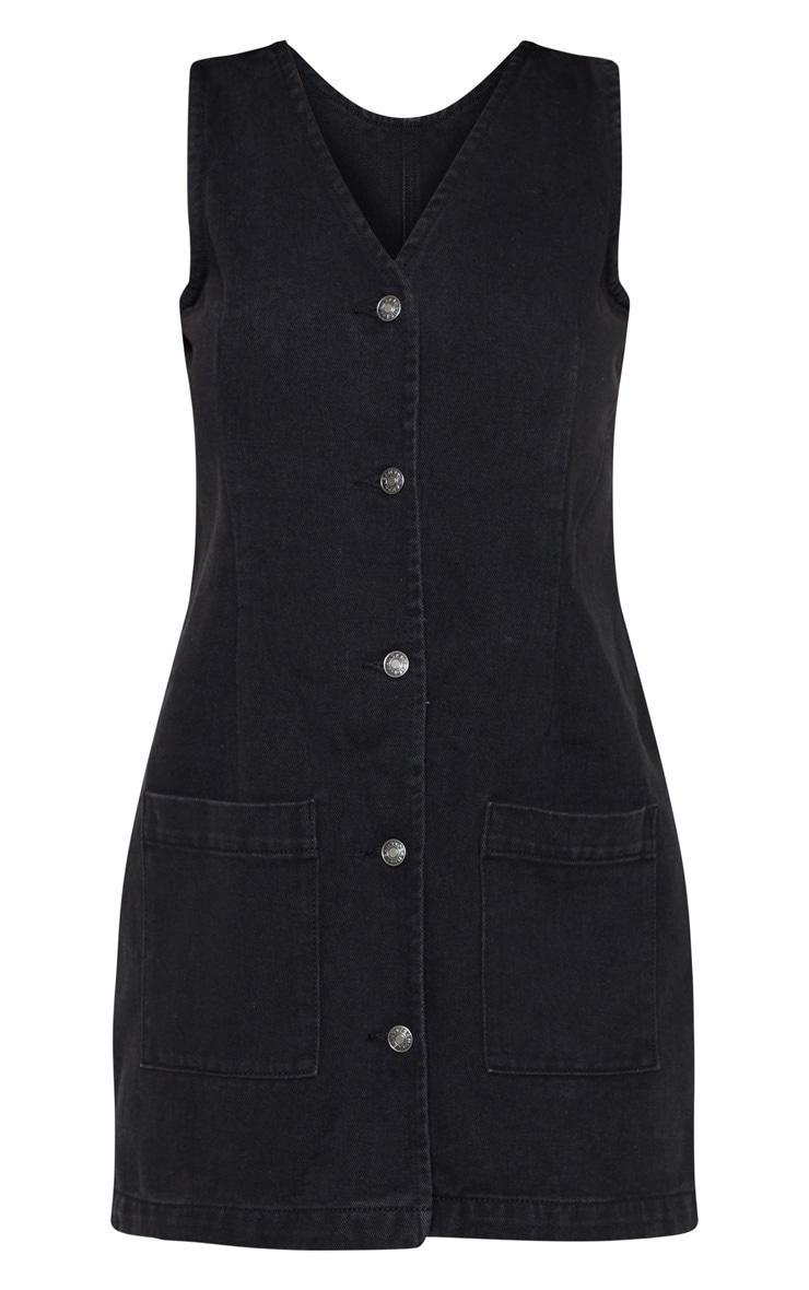 Black Button Through Pocket Detail Denim Dress  3