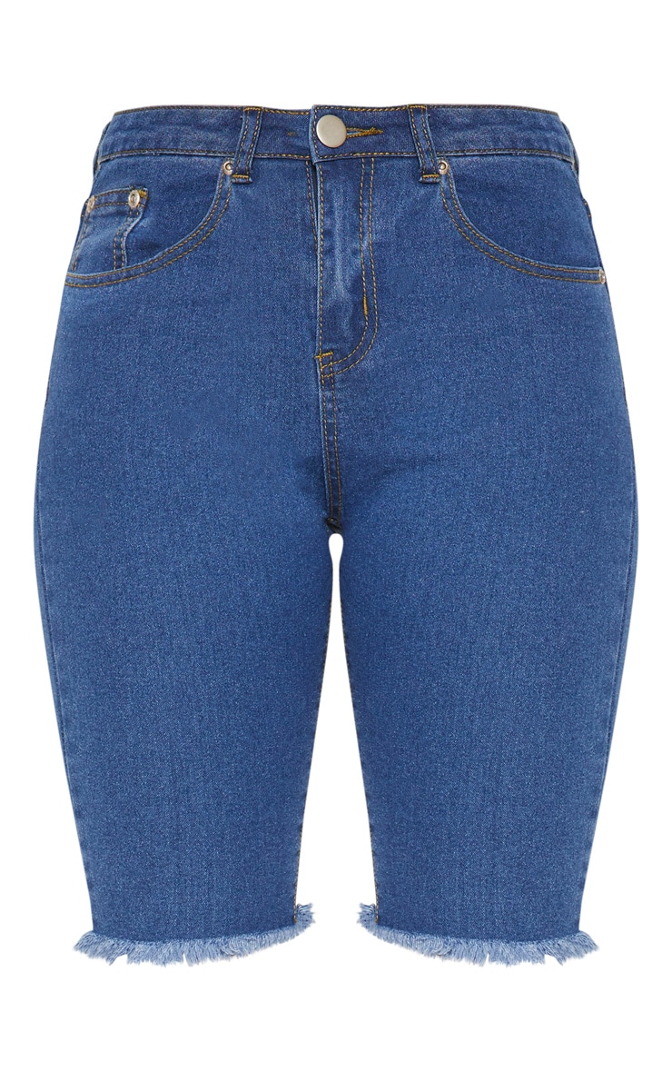 Short skinny mi-long en jean bleu 3