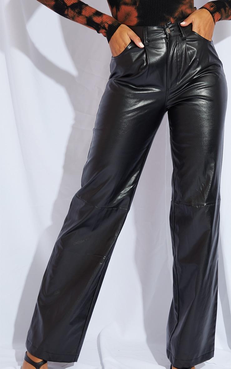 Black Faux Leather Pleat Detail Wide Leg Trousers 4